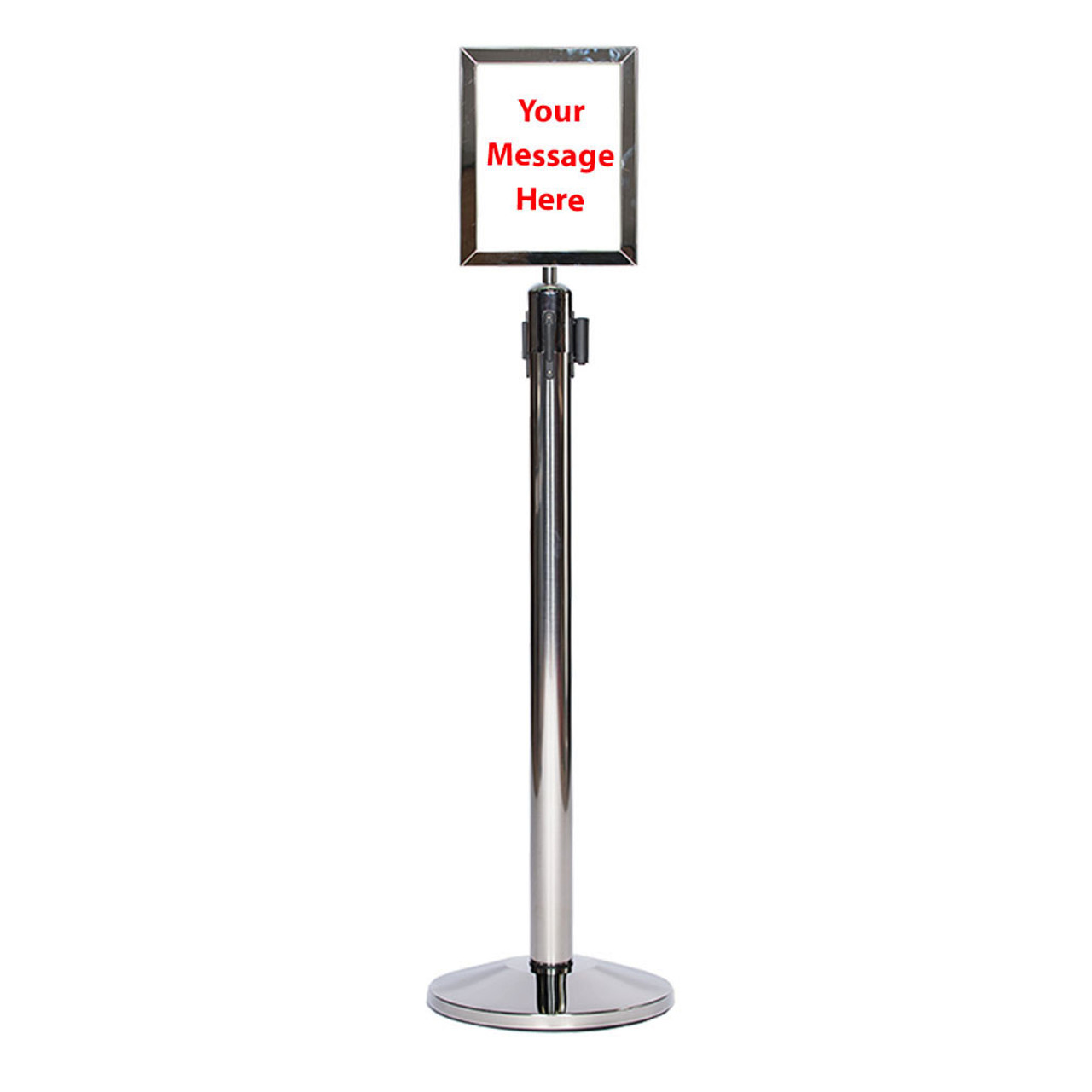 Top Rated Chrome or Stainless Sign Frame or Holder for a Retractable Belt Stanchion on a Chrome Stanchion