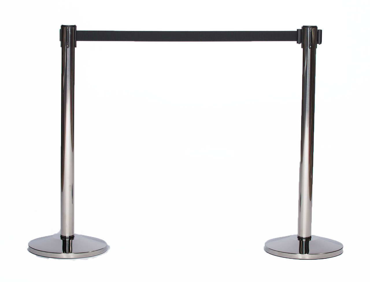 Best Value Pair of Chrome or Stainless Black Retractable Belt Stanchions with a 10' Black Belt