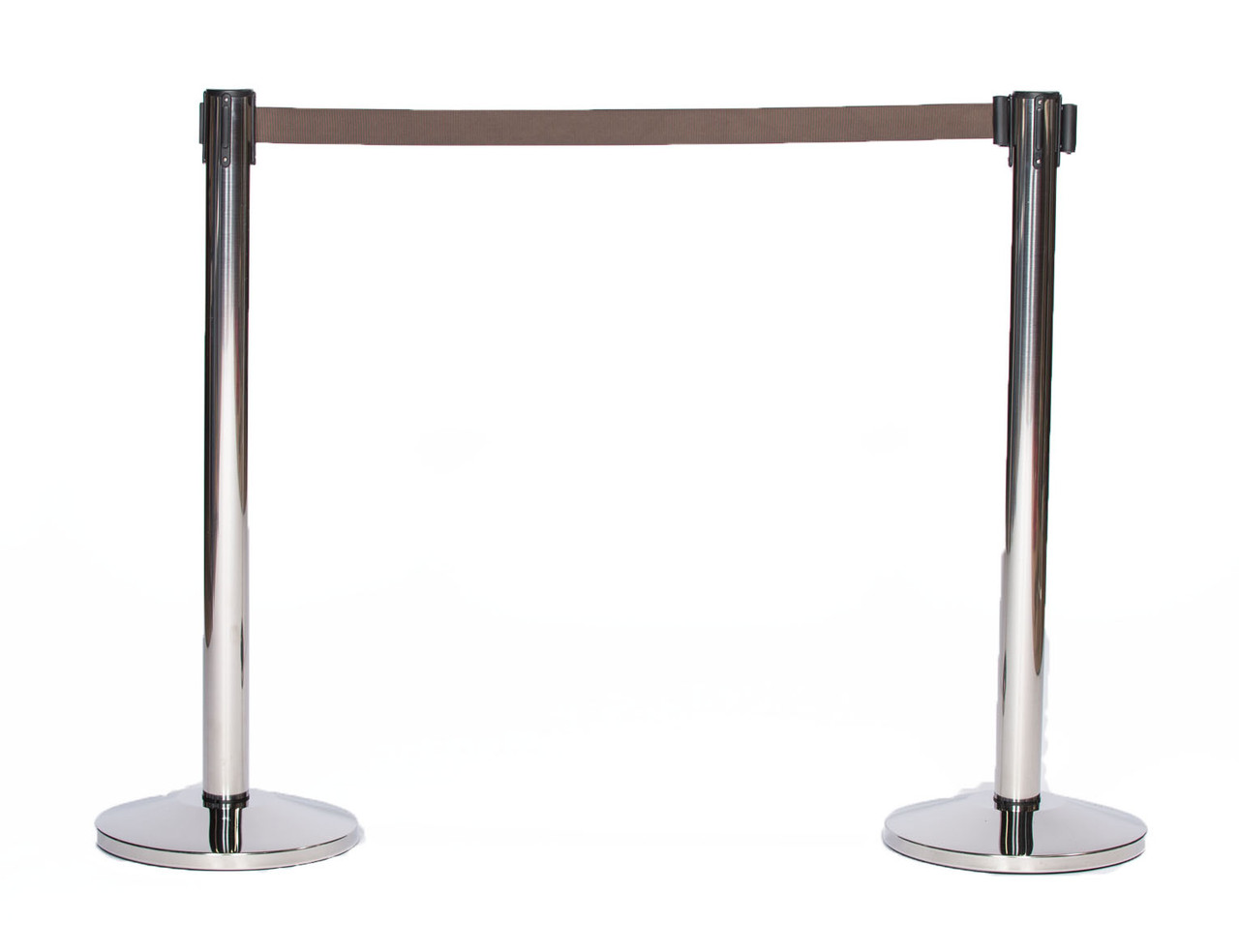 Best Reviewed Pair of Chrome or Stainless Retractable Belt Stanchions with a 10' Brown Belt