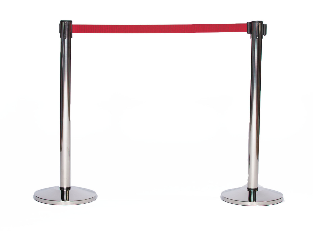 Top Selling Pair of Chrome or Stainless Retractable Belt Stanchions with a 10' Burgundy Belt