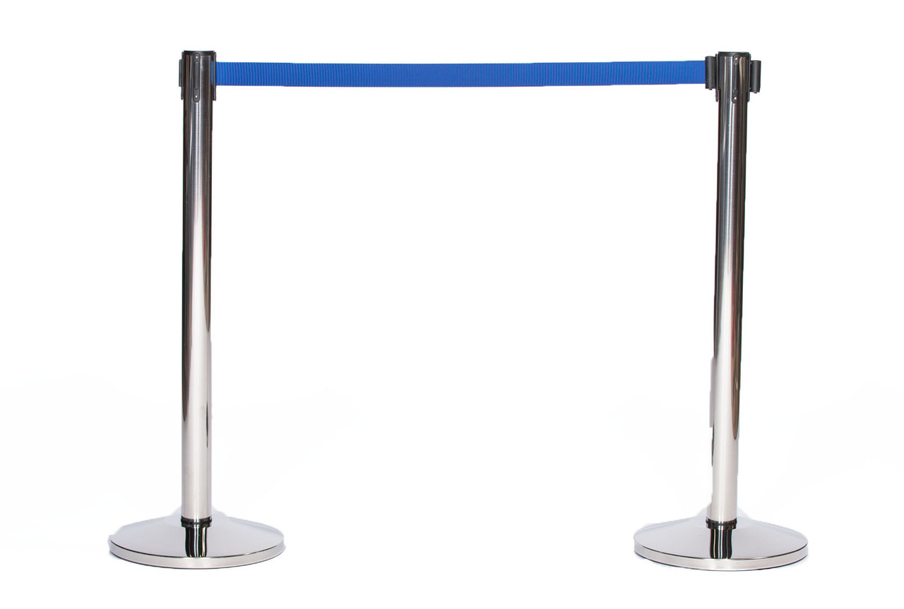 Top Selling Pair of Chrome or Stainless Retractable Belt Stanchions with a 10' Dark Blue Belt