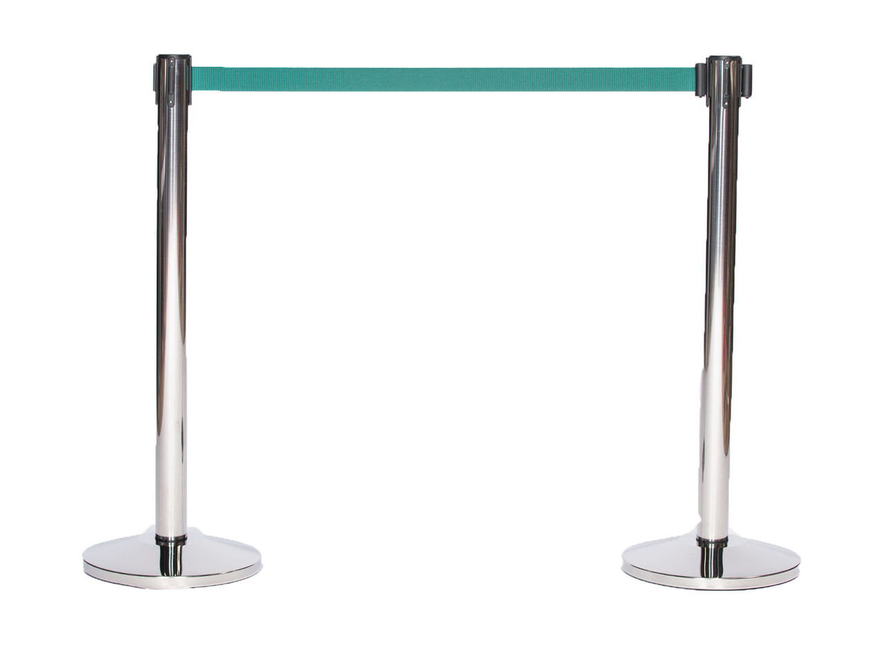 Best Reviewed Pair of Chrome or Stainless Retractable Belt Stanchions with a 10' Green Belt