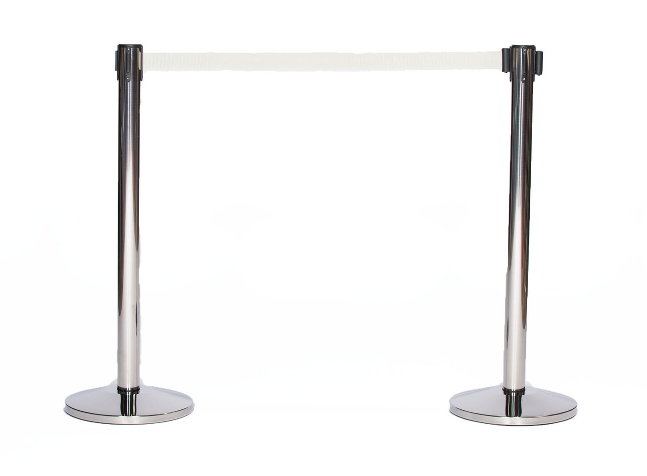 Best Value Pair of Chrome or Stainless Retractable Belt Stanchions with a 10' Grey Belt