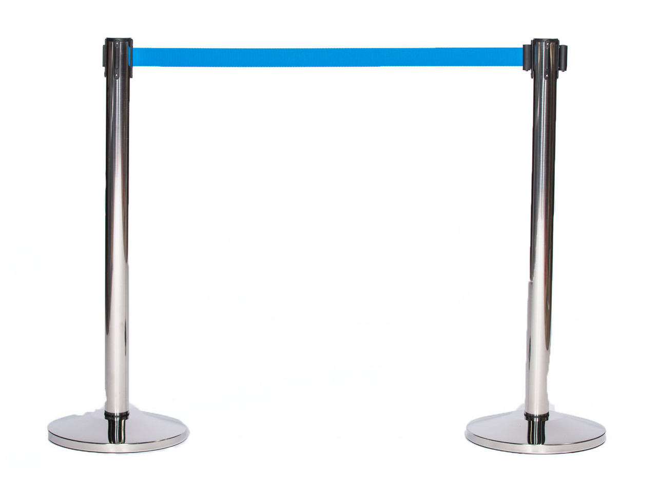 Top Selling Pair of Chrome or Stainless Retractable Belt Stanchions with a 10' Light Blue Belt