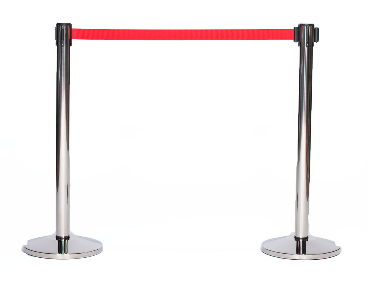 Top Selling Pair of Chrome or Stainless Retractable Belt Stanchions with a 10' Red Belt