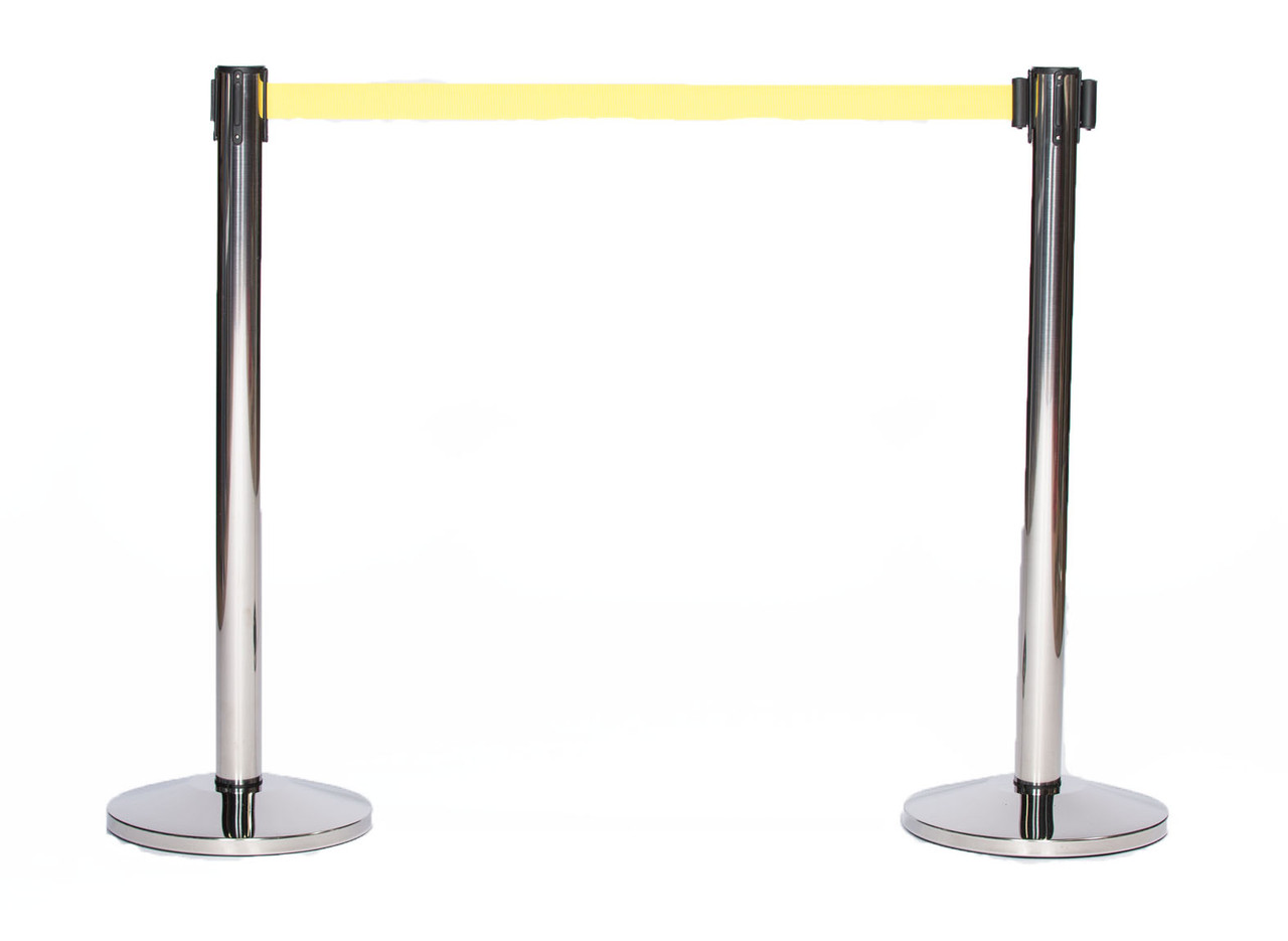 Best Value Pair of Chrome or Stainless Retractable Belt Stanchions with a 10' Yellow Belt