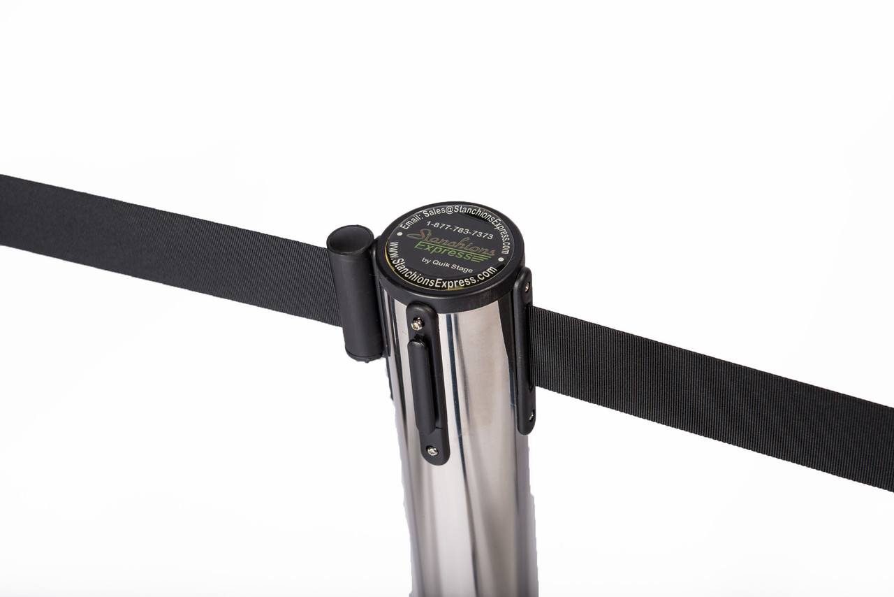 Top Rated Chrome or Stainless Retractable Belt Stanchion with a 10' Black Belt - Top View