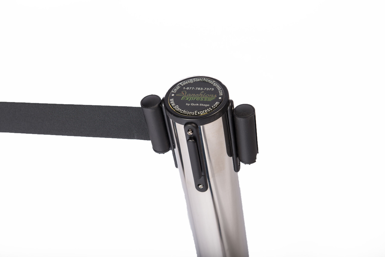 Top Rated Chrome or Stainless Retractable Belt Stanchion with a 10' Black Belt - Connected at one point