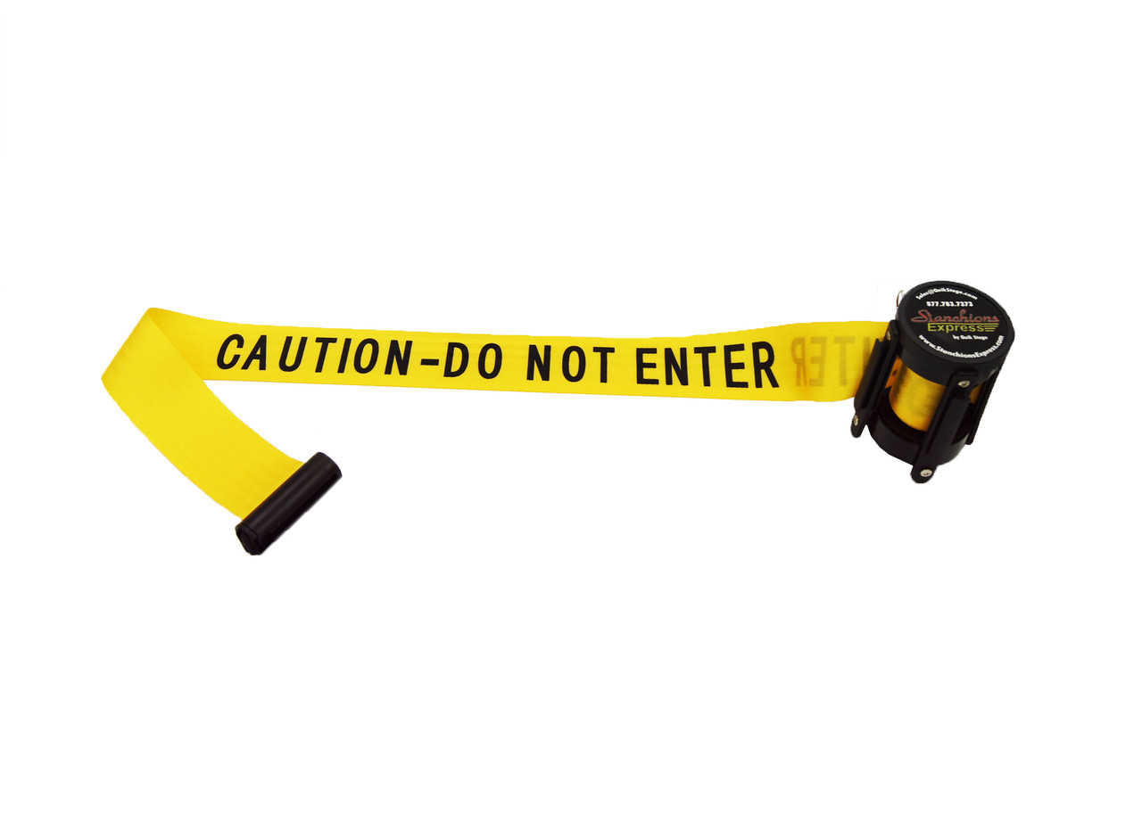 "Top Seller Premium Yellow with Black ""Caution - Do Not Enter"" 10' Replacement Retractable Belt Stanchion Cassette."