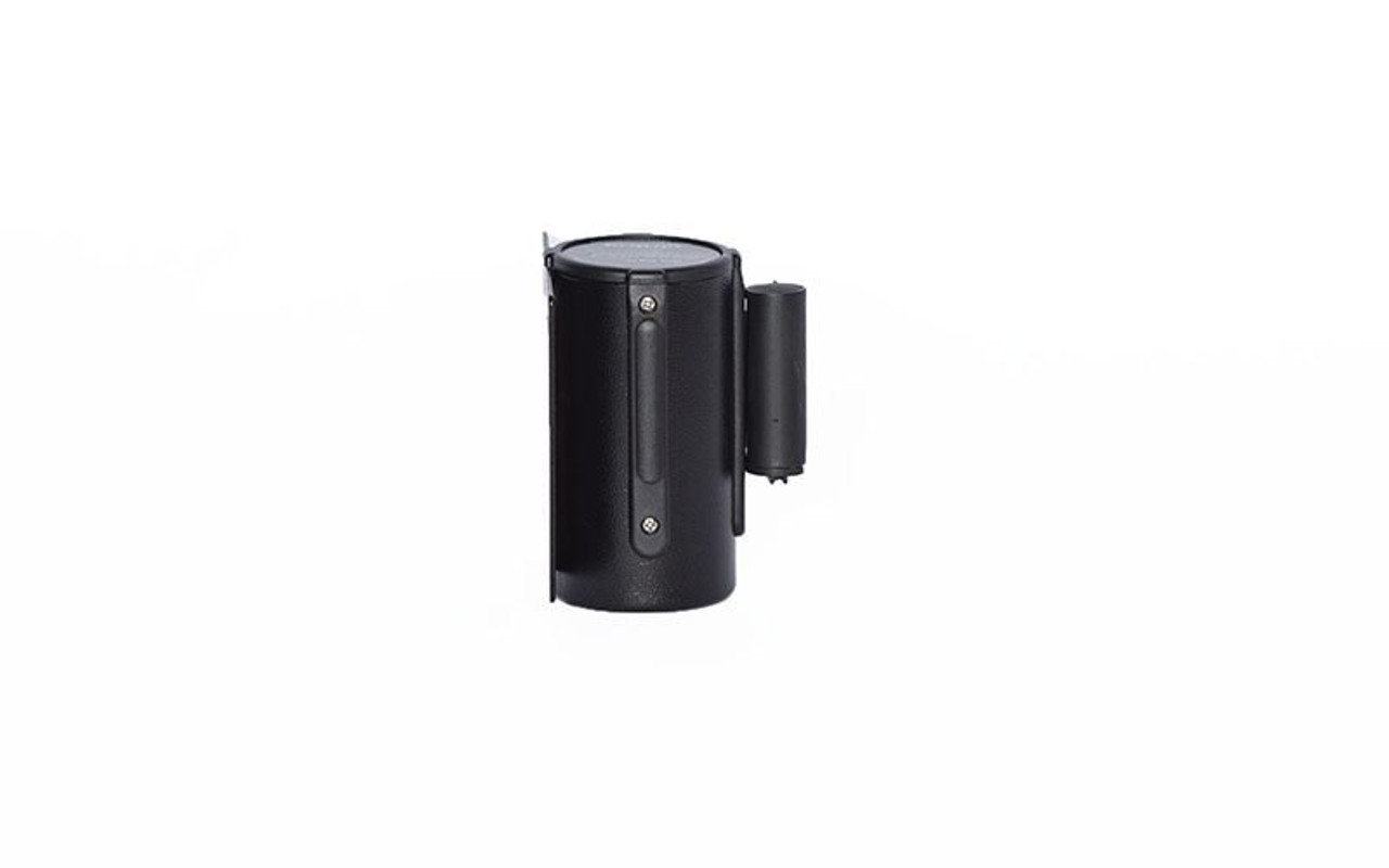 Top Rated Black Retractable Belt Wall Mount Stanchion or Safety Barrier with an 8' belt - Right Side View with Black Belt.