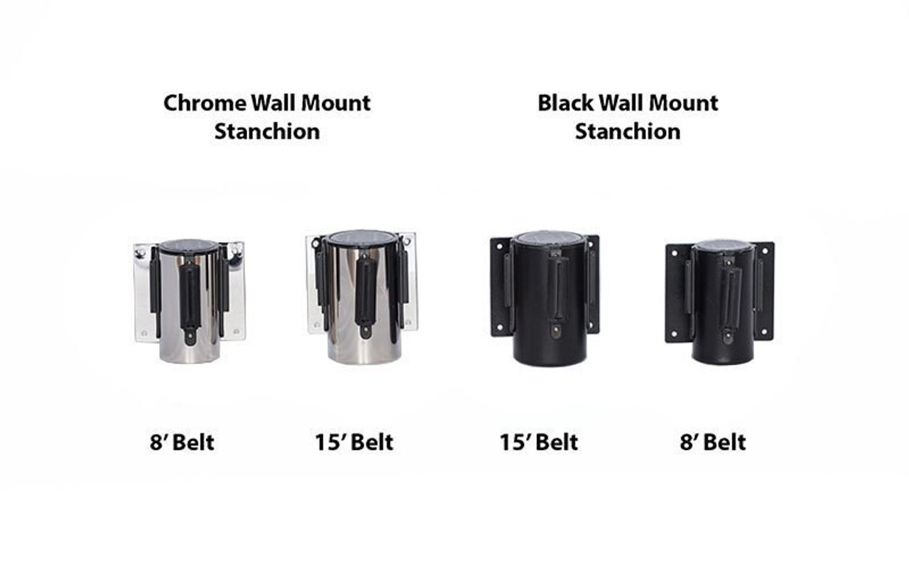 Top Selling Black and Chrome / Stainless Retractable Belt Wall Mount Stanchions or Safety Barriers. Available in 8' or 15' Belt Lengths and 6 colors.