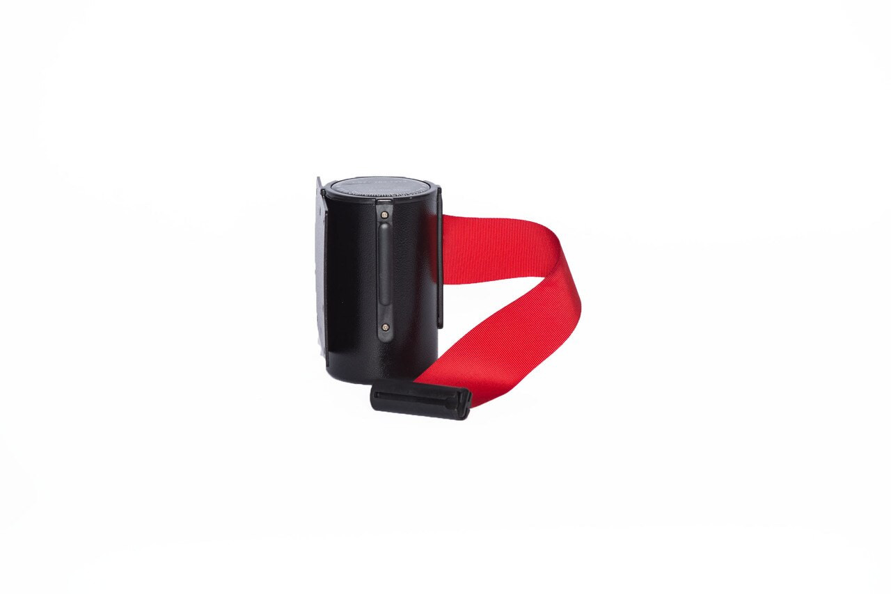 Top Selling Black Retractable Belt Wall Mount Stanchion or Safety Barrier with an 8' belt - Left Side View with Red Belt.
