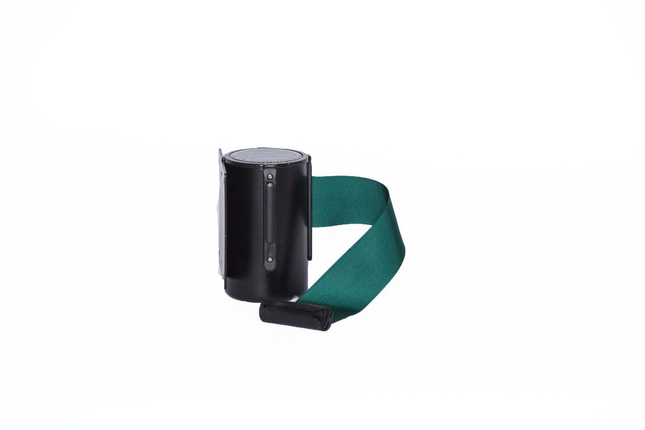 Top Selling Black Retractable Belt Wall Mount Stanchion or Safety Barrier with an 8' belt - Left Side View with Green Belt.