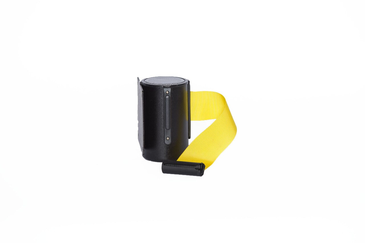 Top Selling Black Retractable Belt Wall Mount Stanchion or Safety Barrier with an 8' belt - Left Side View with Yellow Belt.