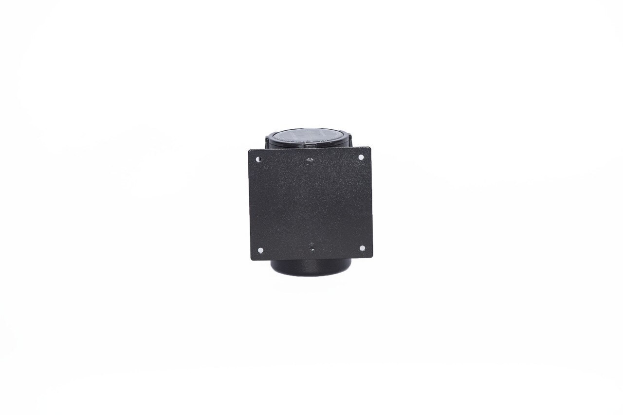 Best Selling Black Retractable Belt Wall Mount Stanchion or Safety Barrier with an 8' belt - Back View.