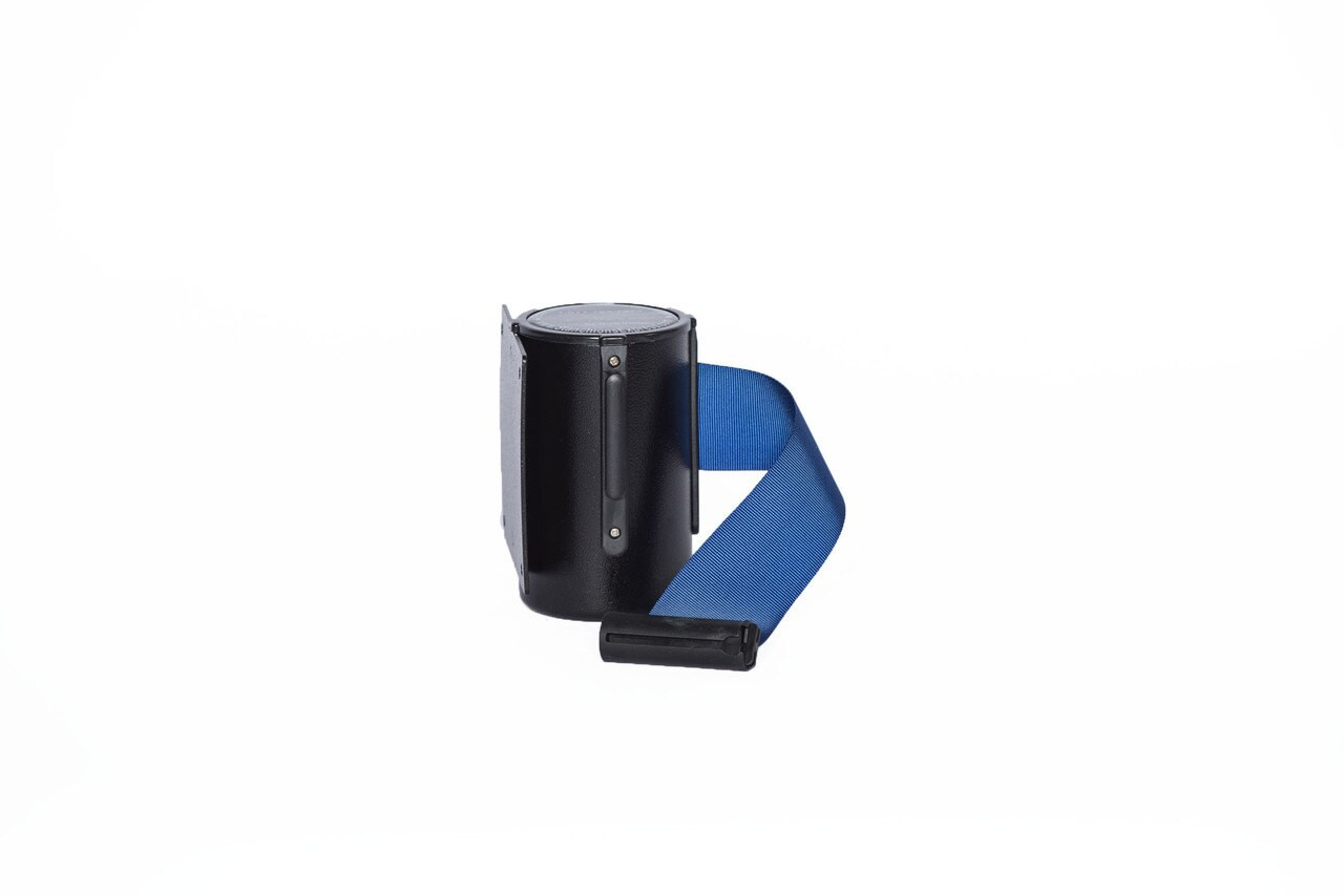 Top Selling Black Retractable Belt Wall Mount Stanchion or Safety Barrier with an 8' belt - Left Side View with Dark Blue Belt.