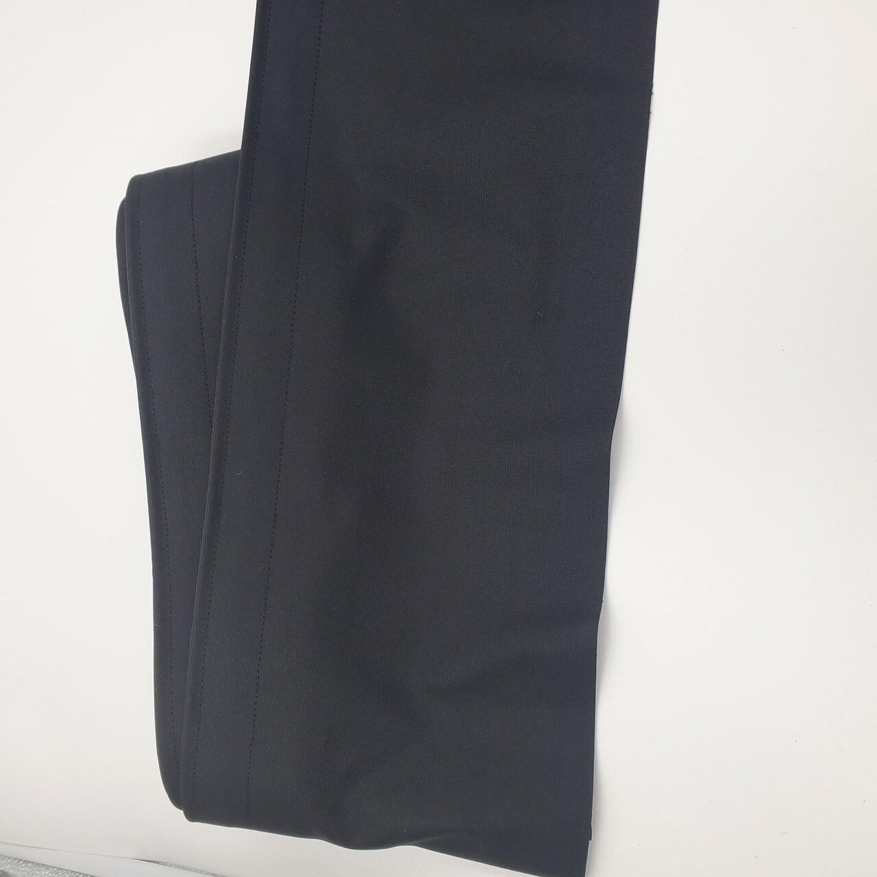"""Best rated Closeout!  8"""" High x 24' Long Black Flat (No Pleat) Poly Premier Stage Skirting with Loop Velcro sewn on the back - Front Side"""