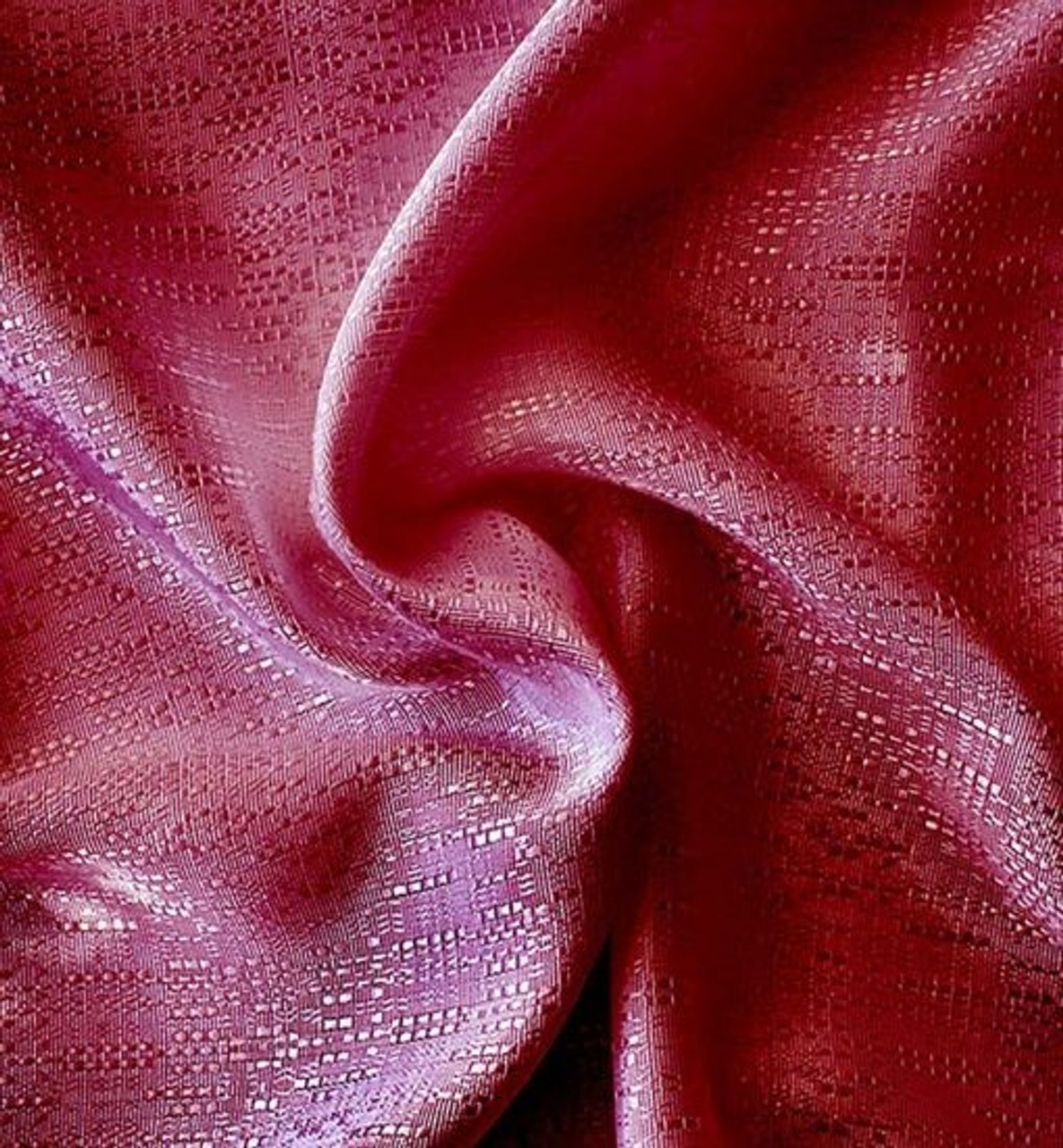 "Top rated Closeout!  8' High Burgundy Banjo Drape with 4"" Rod Pocket on Top and Bottom - Burgundy Color Swatch."