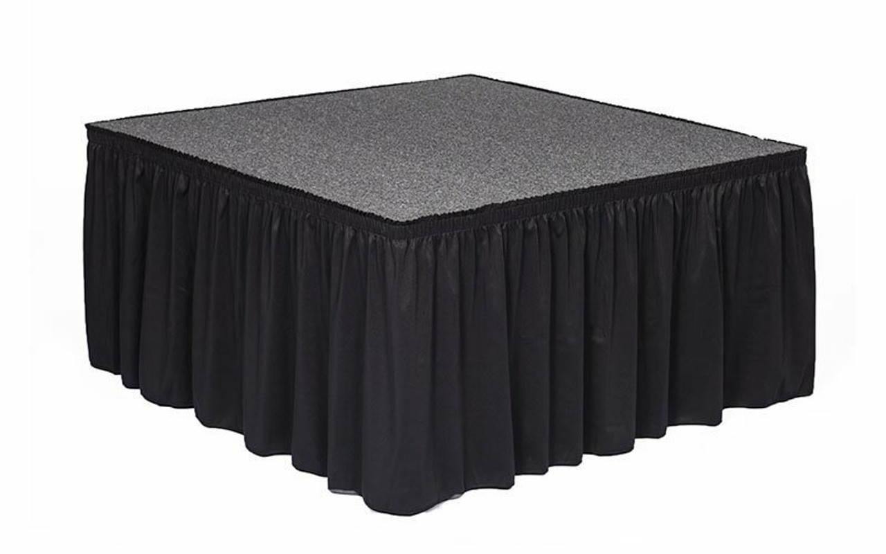 """Top rated 12"""" High Black Expo Pleat Poly Premier Flame Retardant Polyester Stage Skirting with the Loop Side Fastener.  - Attached to a square stage."""