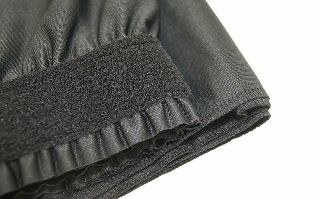 """Top rated 12"""" High Black Expo Pleat Poly Premier Flame Retardant Polyester Stage Skirting with the Loop Side Fastener.  -  Closer view of Loop side Velcro sewn on the back side."""