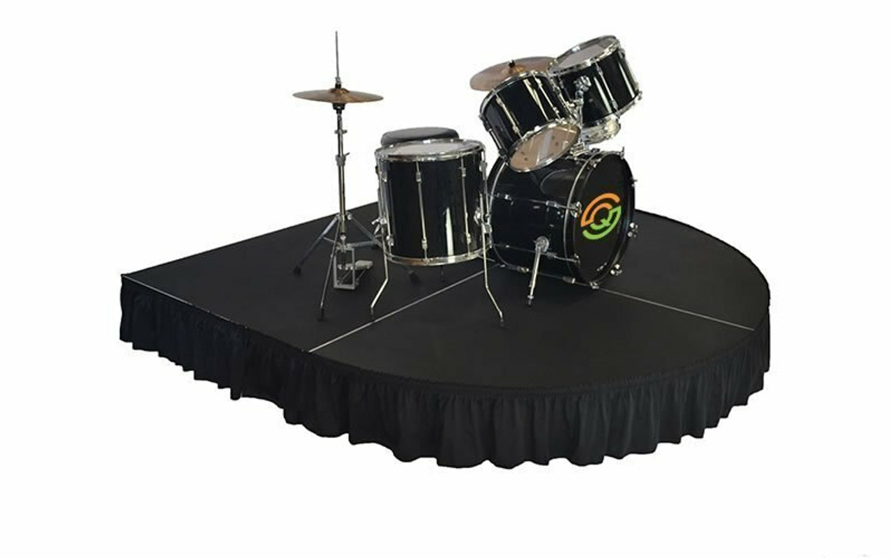 """Top rated 12"""" High Black Expo Pleat Poly Premier Flame Retardant Polyester Stage Skirting with the Loop Side Fastener.  - Attached to a rounded front drum riser."""