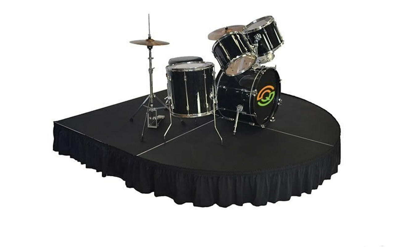 """Top rated 16"""" High Black Expo Pleat Poly Premier Flame Retardant Polyester Stage Skirting with the Loop Side Fastener.  - Attached to a rounded front drum riser."""