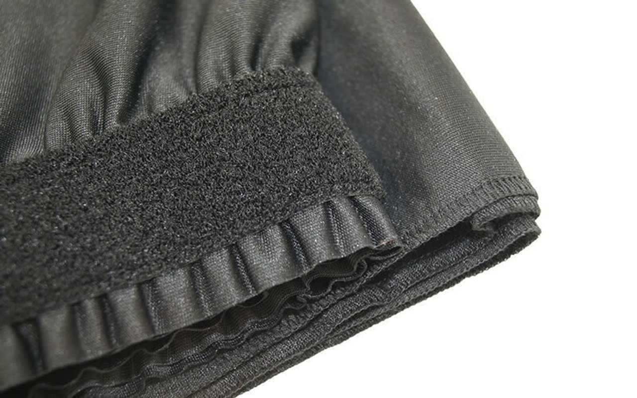 """Top rated 16"""" High Black Expo Pleat Poly Premier Flame Retardant Polyester Stage Skirting with the Loop Side Fastener.  -  Closer view of Loop side Velcro sewn on the back side."""