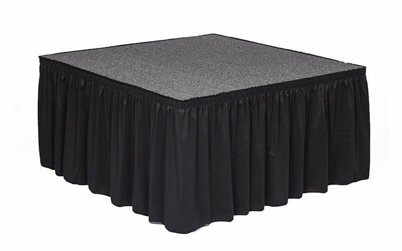 """Top rated 16"""" High Black Expo Pleat Poly Premier Flame Retardant Polyester Stage Skirting with the Loop Side Fastener.  - Attached to a square stage."""