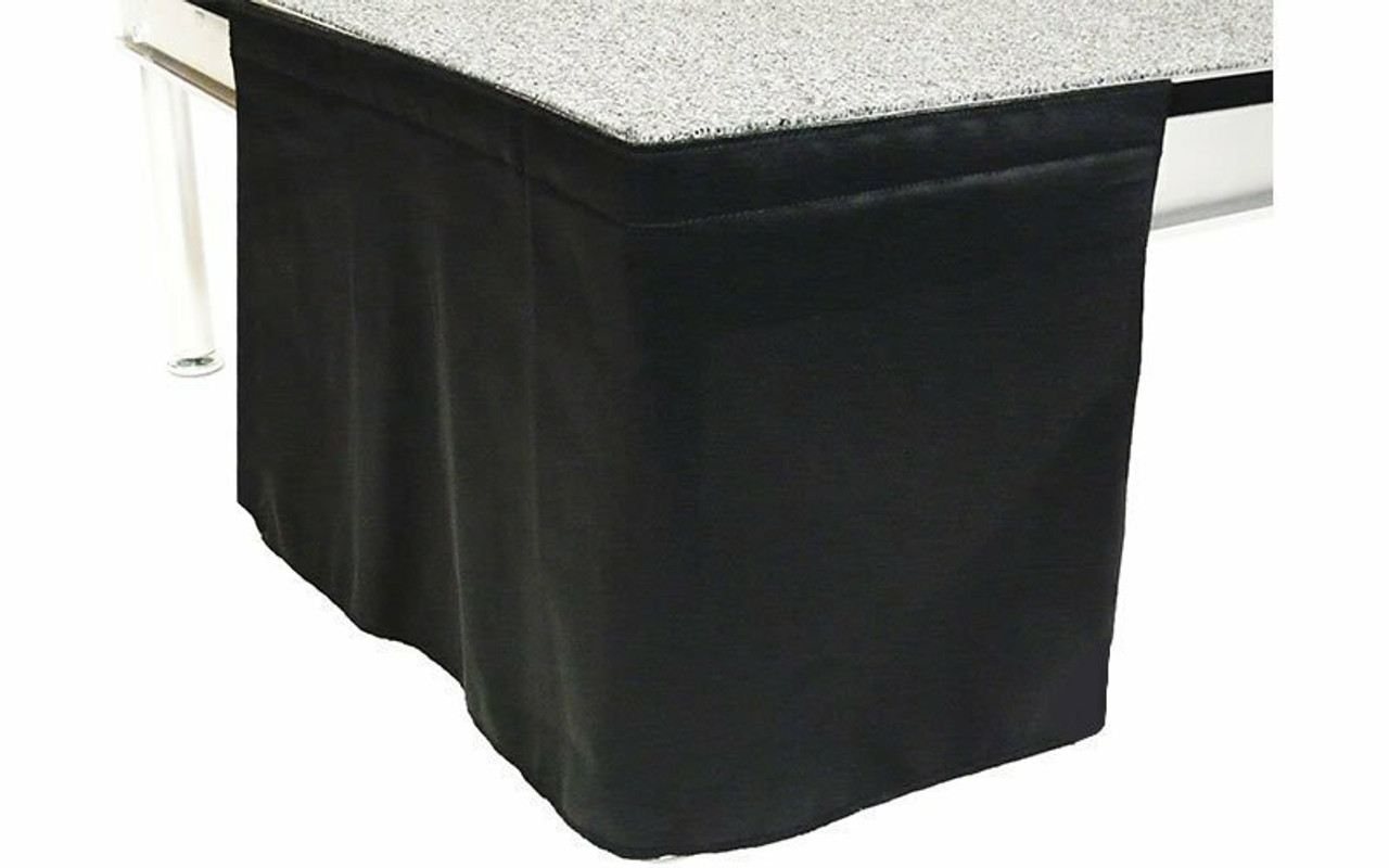 8 Inch High Flat No Pleat Black Poly Premier Polyester Top Rated Stage Skirting with Velcro. IFR Rated.