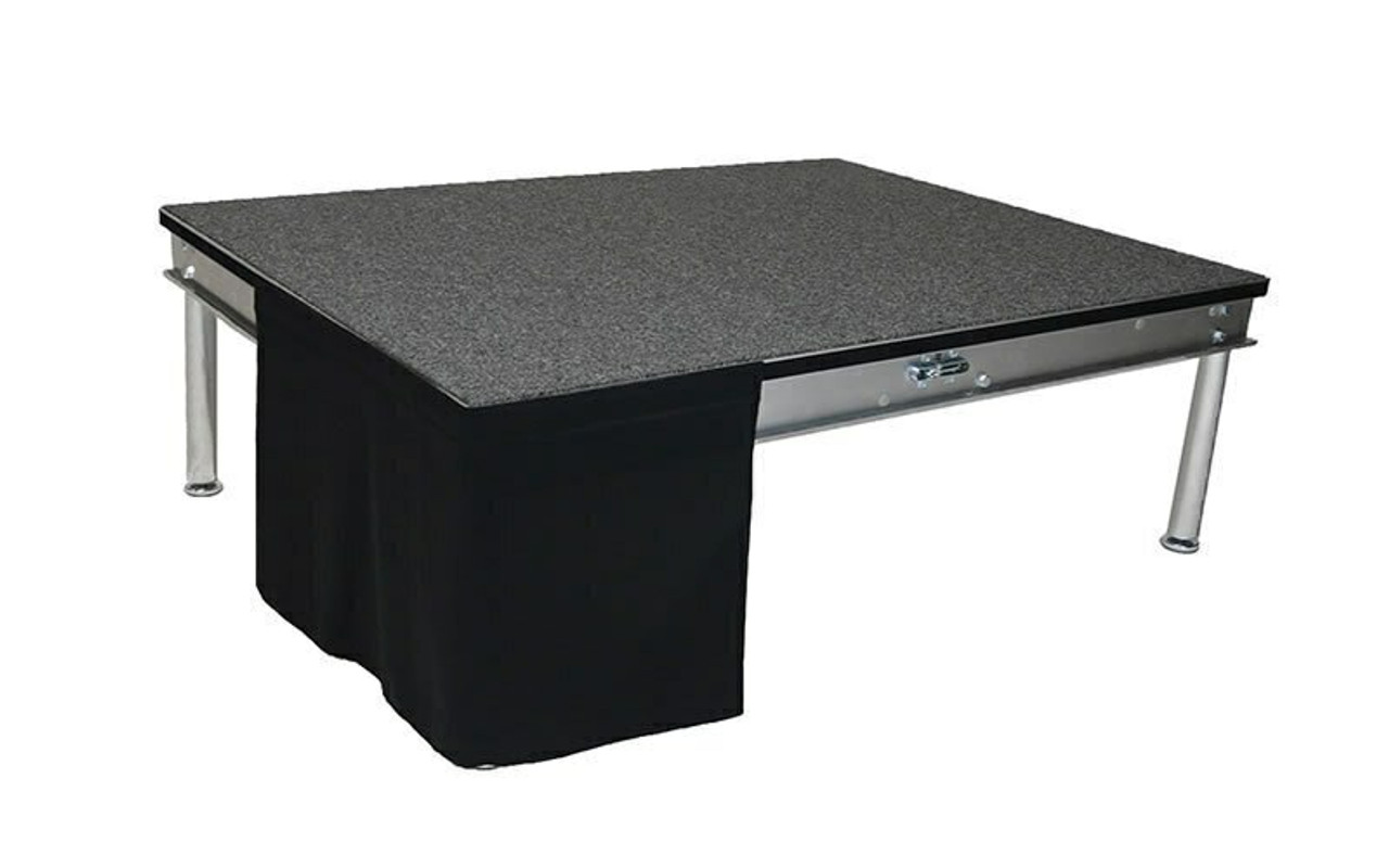 8 Inch High Flat No Pleat Black Poly Premier Polyester Top Rated Stage Skirting with Velcro. IFR Rated.  Flat, no pleat, stage skirting.