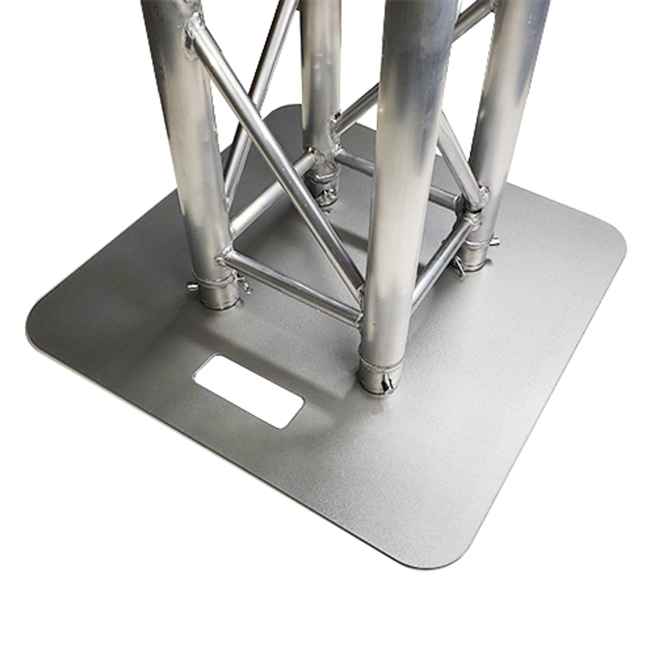 """Rated Best 24"""" x 24"""" Silver Steel Truss Base Plate. Fits Global Truss F23 F24 F33 F34 and Others. Shipping included! Base attached to trussing."""