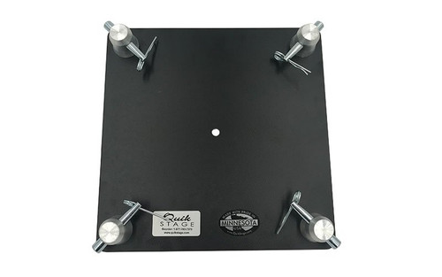 """Best Selling 12"""" x 12"""" Black Powder Coated Aluminum Truss Base or Top Plate. Fits Global Truss F34 SQ and Others. Top View."""