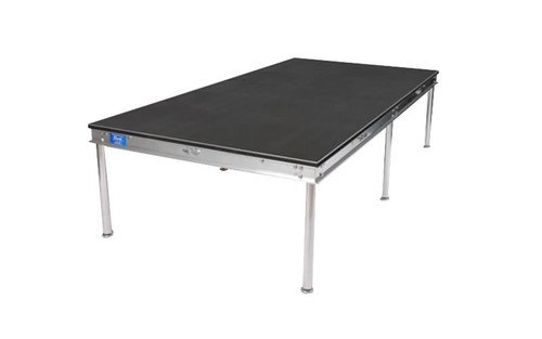 """Quik Stage 4' x 5' x 8"""" High Portable Stage Deck with Black Polyvinyl Non-Skid Surface. Additional Heights and Surfaces Available. Angled left view."""