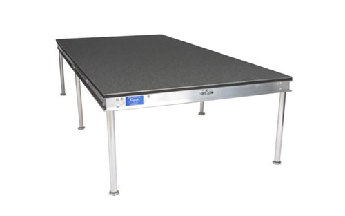 "Quik Stage 4' x 5' x 8"" High Portable Stage Deck with Black Polyvinyl Non-Skid Surface. Additional Heights and Surfaces Available. Angled right view."