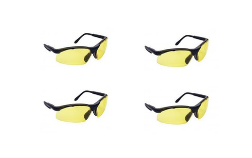 Best rated 4  Pack of SAS 541 Sidewinder Safety Glasses. Black Frame. Clear or Yellow Lens. Stay OSHA Compliant.   - Black Frame/Yellow Lens