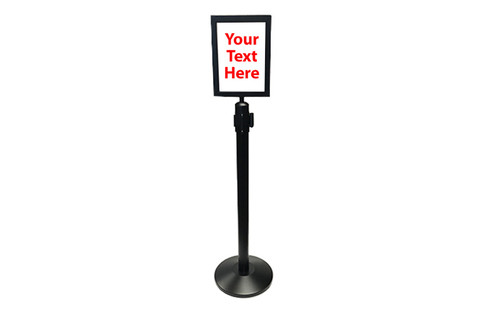 Top Selling 10 x 13 Retractable Belt Black Sign Frame - Black Sign frame on a black retractable belt post stanchion (full view).