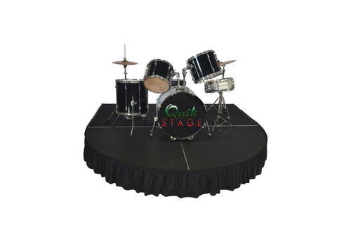 """Best reviewed Quik Stage 8' x 8' x 12"""" High Round Front Rolling Drum Riser Package  - Show drum riser with stage skirting"""
