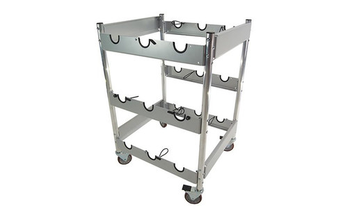 Best Seller 9 Stanchion Vertical Storage Cart - Empty.
