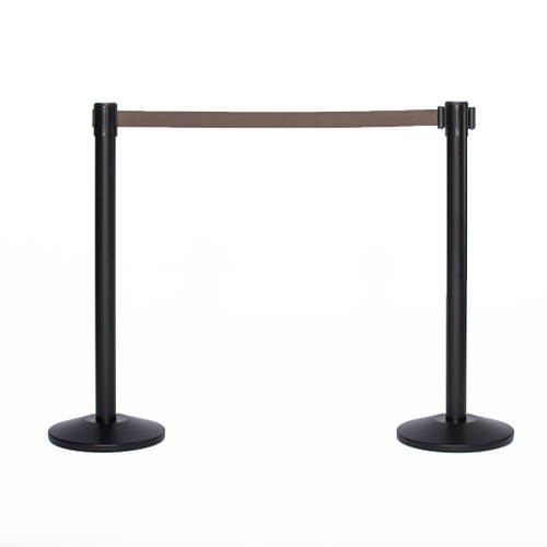 Best Reviewed Pair of Black Retractable Belt Stanchions with a 10' Brown Belt