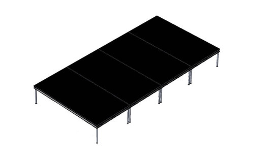 Top Rated Quik Stage 8' x 16' High Portable Stage Package with Black Polyvinyl Non-Skid Surface. Additional Heights and Surfaces Available - Front Angle View