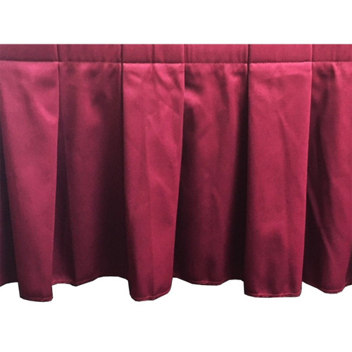 "CLOSE OUT! SUPER BUY. 16"" High x 4' Wide High Burgundy Box Pleat Stage Skirting with Velcro. Closeout. Shipping Included!"