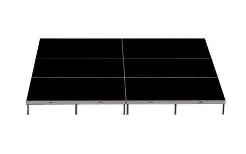 "Top rated Quik Stage 12' x 16' x 8"" High Portable Stage Package with Black Polyvinyl Non-Skid Surface. Additional Surfaces and Heights Available - Stage Rendering"