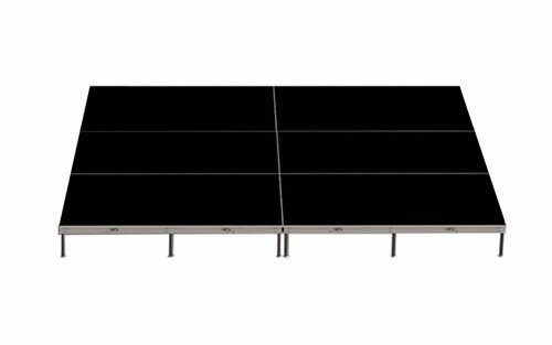"""Top rated Quik Stage 12' x 16' x 8"""" High Portable Stage Package with Black Polyvinyl Non-Skid Surface. Additional Surfaces and Heights Available - Stage Rendering"""