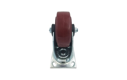 """Best rated Quik Stage 5"""" x 2"""" Swivel Caster with Polyurethane Wheel and Total Lock Brake- Straight View"""