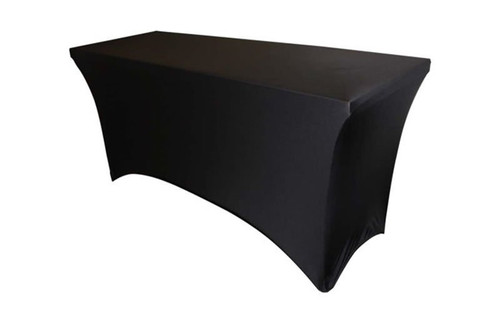 Best selling Quik Stage 8' Black Spandex Rectangle Table Covers are an affordable and convenient way to quickly and easily cover your 8 foot rectangle tables