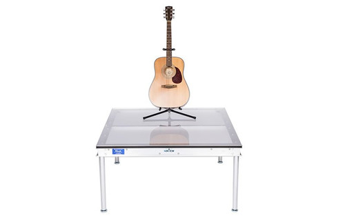 """Best selling Quik Stage 3' x 4' x 8"""" High Portable Stage Deck with Plexiglas Surface. Additional Heights Available. Guitar riser."""