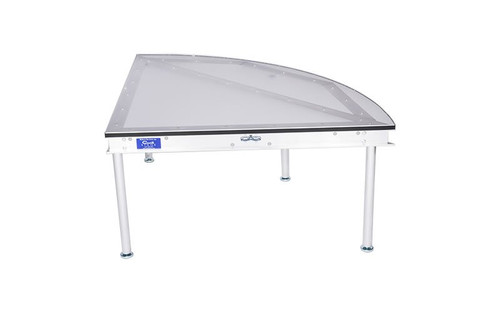 """Best selling Quik Stage 4' x 4' x 8"""" High Curved Portable Stage Deck with Black Polyvinyl Non-Skid Surface. Additional Heights and Surfaces Available."""