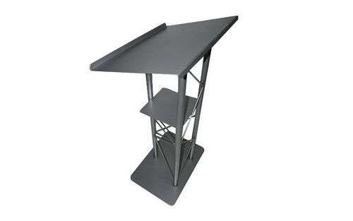 Top selling Lectern - Podium – Pulpit – Silver 3 Post All Steel with Shelf. High Quality. Closeout.