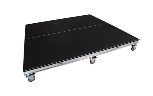 Best Reviewed Quik Stage 6' x 6' High Rolling Drum Riser Package with Black Polyvinyl Surface. - Angled view without drum set