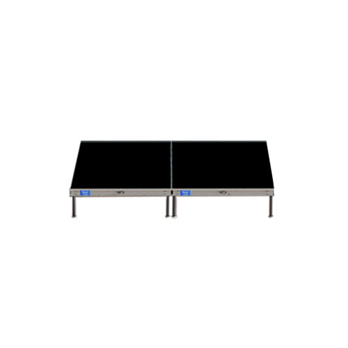 Top Rated Quik Stage 7' x 8' High Portable Stage Package with Black Polyvinyl Non-Skid Surface. Additional Heights and Surfaces Available - Front view